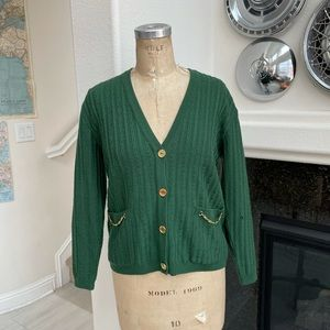 Vintage Celine sport Paris sweater green gold 42